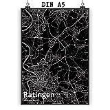 Mr. & Mrs. Panda Poster DIN A5 Stadt Ratingen Stadt Black -