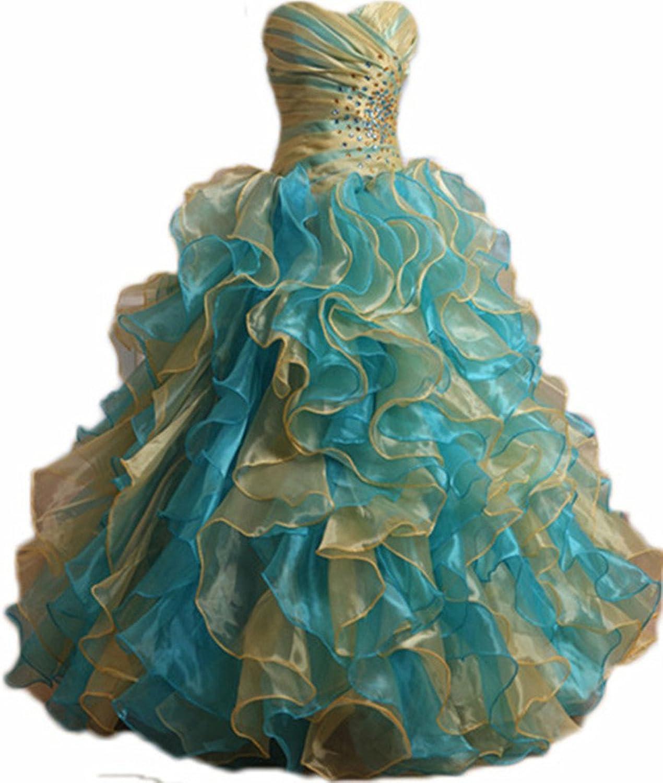 Zhu Li Ya Women's Quinceanera Dresses Beaded Organza Ruffles Party Gown