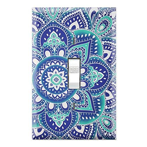 Graphics Wallplates - Blue Ombre Mandala Hippie Bohemian - Single Toggle Wall Plate Cover