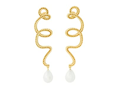 SOLE / SOCIETY Post Linear Earrings (12K Soft Polish Gold/Ivory Pearl) Earring