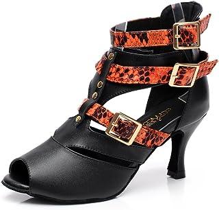 Miyoopark QJ6178 Womens Buckle Ankle Strap Leather Ballroom Latin Dance Shoes