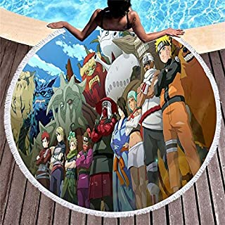 Microfiber Round Beach Towel Tassel Character Naruto Print Bath Shower Towel Picnic Yoga Sport Swimming Mats Blanket (colo...