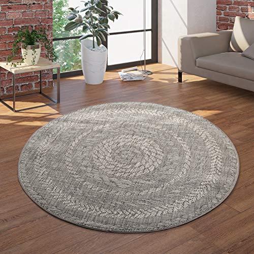 Paco Home Runder In- & Outdoor-Teppich, Flachgewebe Mit Sisal-Look Skandi-Design, In Grau, Grösse:Ø 120 cm Rund