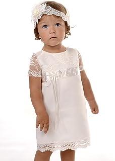 Emily Bezauberndes weißes Taufkleid mit Hut 68