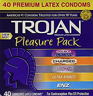 Best trojan pleasure pack premium lubricated latex condoms 40 count Reviews