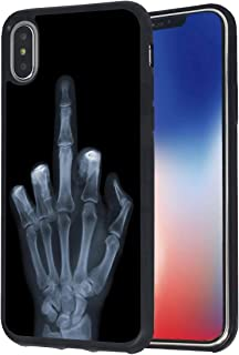 iPhone X Case,iPhone Xs Case,BWOOLL Finger Bone Middle Finger Design Slim Anti-Scratch Rubber Protective Cover for Apple iPhone X (2017)/iPhone Xs (2018) 5.8 inch