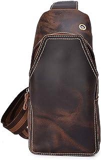 Men's Business Chest Bag, Leather Shoulder Diagonal Cross-Bag Outdoor Leisure Travel (Color : Brown, Size : M)