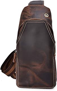 Men's Business Chest Bag, Leather Shoulder Diagonal Cross-Bag Outdoor Leisure Travel (Color : Brown, Size : M)
