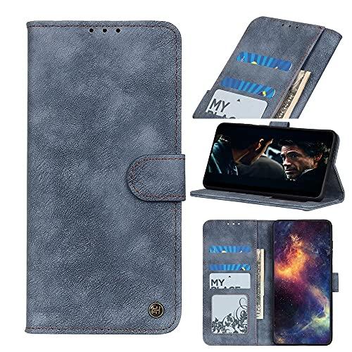 WANTONG Cubierta de la Caja del tirón del teléfono para Samsung Galaxy A70s Flip Wallet Funda Kickstand Tarjeta Slots Cierre magnético Funda Protectora a Prueba de Golpes (Color : Blue)