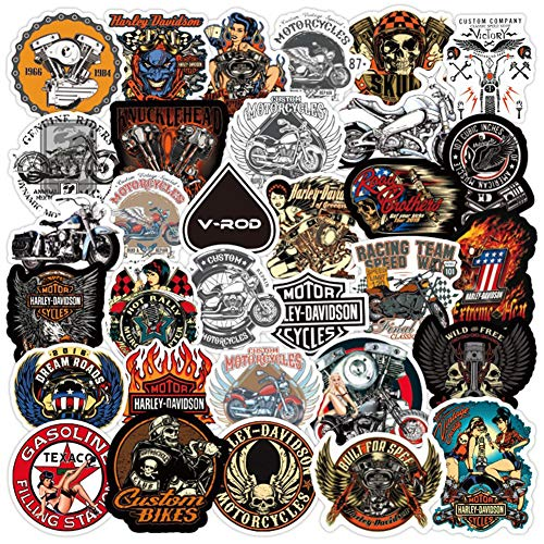 50 Pcs Motorcycle Stickers|Autobike or Scooter Waterproof Vinyl Stickers for Bike Water Bottles Laptop Bicycle Refrigerator Motorbike Cup Luggage Computer Mobile Phone Skateboard Decals