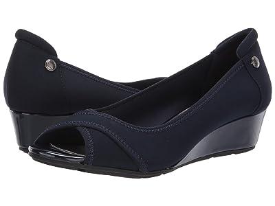 Anne Klein Sport Corner Wedge Heel (Navy) Women