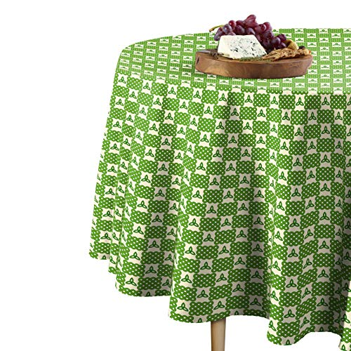 Fabric Textile Products Round Tablecloth, 100% Milliken Polyester, Machine Washable, 70' Round, Celtic Knots & Lattice