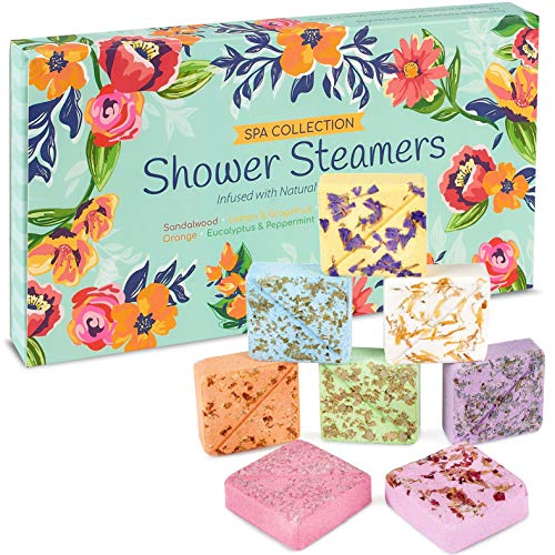 InYourNature Shower Steamers Aromatherapy Gifts, Bath Bomb Set of 8 50g Vapor Tablets with Natural Essential Oils Lavender for Sinus and Stress Relief, Shower Bombs for Women and Men, Luxury Gift Her