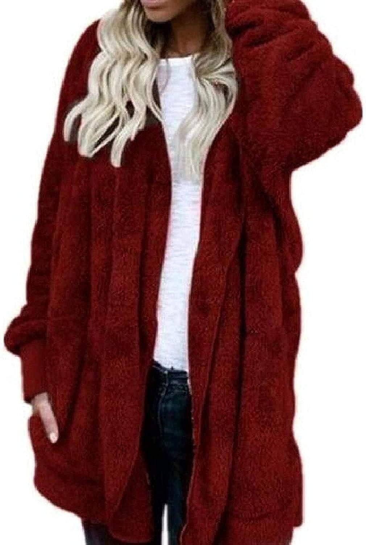 Women Cardigan Warm Long Sleeve Hooded Faux-Jacket Coat Outerwear,Wine Red,Small
