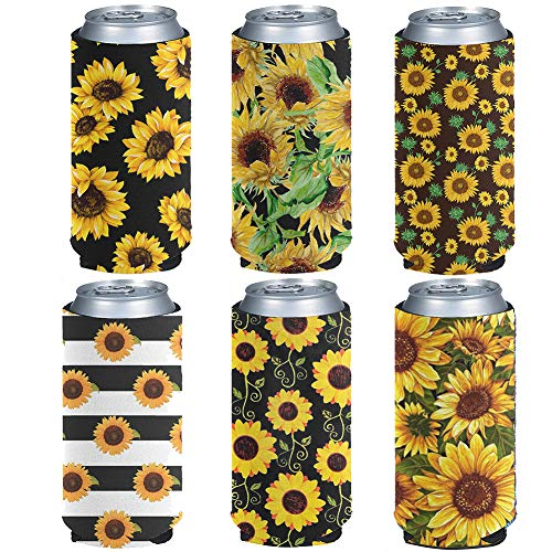 Kuiaobaty Fundas para latas de cerveza con estampado de girasol, fundas para latas de cerveza, fundas para latas de flores adecuadas para todas las latas de alumimun de 12 onzas (6 unidades)