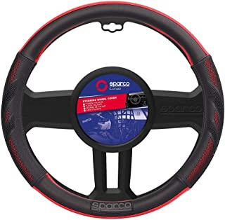 SPARCO Universal Steering Wheel Cover 38 cm, SPS100RD, Black/Red