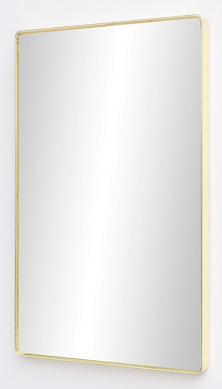 FineBuy Wandspiegel FB13968 Gold 50 x 80 x 4 cm Spiegel Modern Rahmen Gro  Hngespiegel Schlafzimmer Rechteckig  Garderobenspiegel Flur zum Aufhngen Eckig  Design Dekospiegel Wand Wohnzimmer