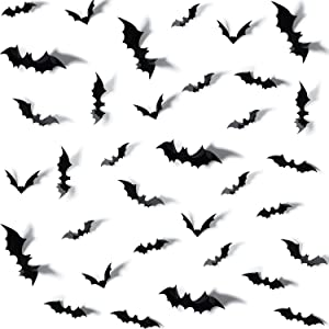 Outus 36 Pieces Removable PVC 3D Bat Stickers Wall Decal DIY Bat Art Decorations Set for Halloween Home Party Supplies