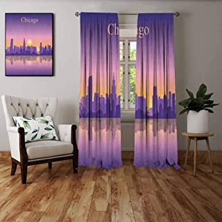 FOEYESEE Heat Insulation Curtain Chicago Skyline Sunset in Illinois American Horizon Behind High City Silhouettes Purple Apricot Pink Bedroom Patio Sliding Door W55 xL39