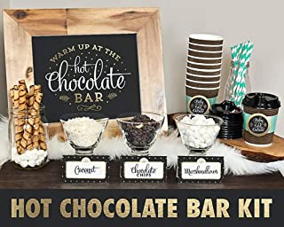 Hot Chocolate Bar Kit -Sign Labels Cup Tags - Decorations for Christmas Party New Year's Eve Kids Birthday