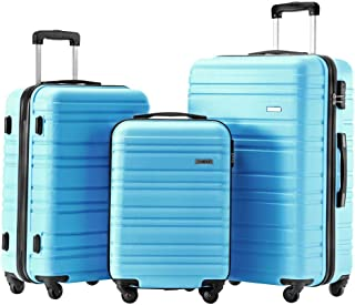 Luggage Set 3 Piece Set Suitcase set Spinner Hard shell Lightweight (skyblue)