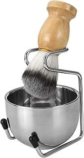 CCbeauty Men's Wet Shaving Kit, Badger Hair Shaving Brush, Stainless Steel Shaving Stand, Shaving Bowl & Razor Holder, 3 Pieces