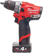 Milwaukee - 12V Brushless Compact Percusssion Drill, 2x 4.0 Ah Li-Ion batteries, C12C Charger - M12FPD-402X