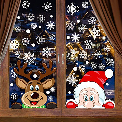 VEYLIN 6 Sheets 300 Pcs Christmas Window Clings, Snowflake Reindeer Santa Claus Window Stickers for Christmas Window Descoration
