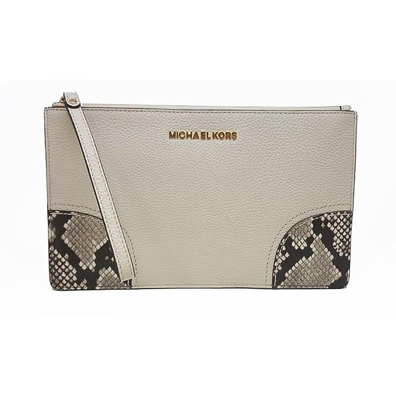 Michael Kors Hattie LG Zip Clutch Leather Ecru (35F7GH0W3E)