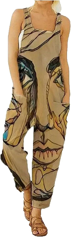 Pyhlmscde Women Jumpsuit Dungarees Playsuit Romper Wide Leg Retro Overalls Sleeveless Loose Baggy Bib Pants