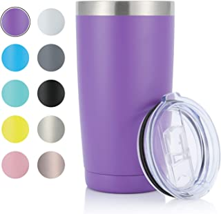 JEAREY 20oz Stainless Steel Tumbler with Lid Double Wall Vacuum Insulated Coffee Travel Mug (1 Pack, Purple)