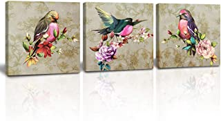 A Cup of Tea Birds Wall Art Blossom Flowers Picture Print on Canvas Modern Wall Art Decor Watercolor Artwork Framed for Living Room Bedroom Home Decoration 12x12 Inch 3Pcs