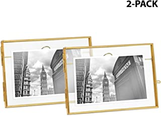 Isaac Jacobs 4x6, Antique Gold, Vintage Style Brass and Glass, Metal Floating Desk Photo Frame (Horizontal), with Locket Closure for Pictures, Art, More (4x6 Horizontal (2-Pack), Antique Gold)