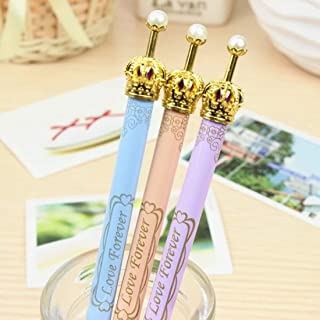 6 pack cute pen golden crown pen pearl on top cute gel pen gold roller ball pen Kawaii pens black gel ink color 0.5 mm point
