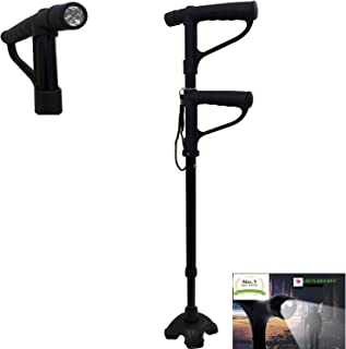 Multi-function Walking Cane Stick Double Handle Design With Flashlight LED Lights Build-in Comfortable cushion Handle Adjustable for get up and go Men and Women (Black) - Maximum Comfort