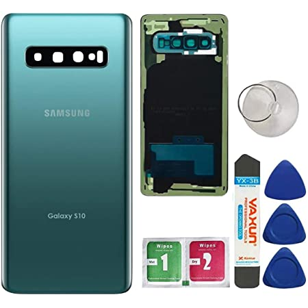 Afeax OEM Replacement Back Glass Cover Back Door w//Installed Camera Lens and Frame,Custom Removal Tool /& Adhesive for Samsung Galaxy S10 All Models Prism Black