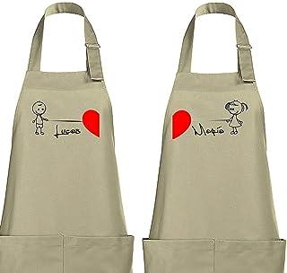 Delantal cocina personalizado para novios/parejas Modelo corazón grande.Varios colores.Regalo/Bodas/San Valentín/Cumpleaño...