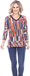 Parsley & Sage - Jenna, 3/4 Sleeve V-Neck, Geometric Design Patterned Fashion Top