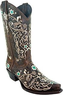 Soto Boots Women's Dahlia Vintage Flower Embroidery Cowgirl Boots M50042
