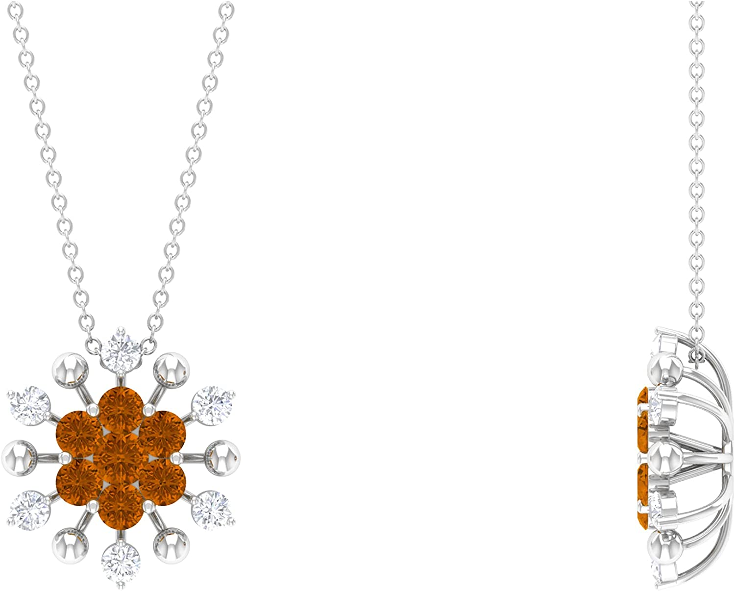 1.25 CT Created Orange Tourmaline Diamond Floral and Cluster Save Ranking TOP20 money Pen