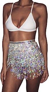 Women's Summer Beach Wrap Sequins Tassel Mini Skirts...