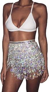 Women's Summer Beach Wrap Sequins Tassel Mini Skirts Music Festival Hip Scarf Belt Skirt