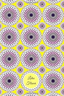 Lotus Flower: Lined Journal - Lavender, White, and Orange vector art on a yellow background - Pattern 2