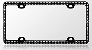 Black Metal Car License Plate Frame with Double Row Clear Crystals Stones