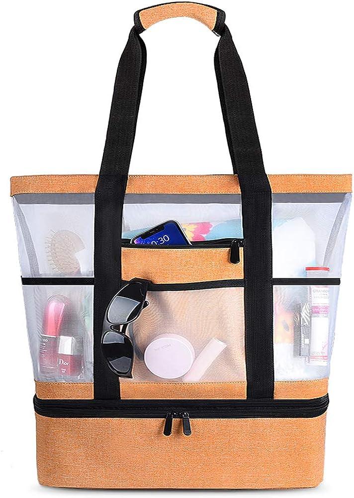 Vbiger, borsa da mare per donna, grande, impermeabile, borsa termica, arancione