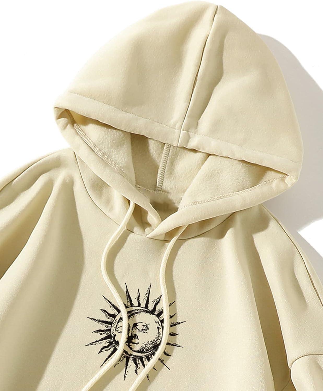 SOLY HUX Women's Plus Size Long Sleeve Pocket Graphic Print Hoodie Top Sweatshirt