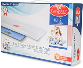 EASYCARE 3-in-1 Baby and Child Cum Adults Weighing Scale (Maximum Capacity 150 Kgs, White)