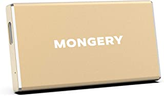 Mongery External SSD USB 3.1 550MB/s High-Speed Read Write Portable SSD External Hard Drive USB C Mobile Solid State Drive (500 G, Gold)