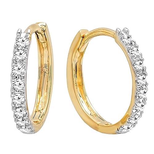 a29be57a7 0.20 Carat (ctw) 14K Gold Round White Diamond Ladies Huggies Hoop Earrings  1/