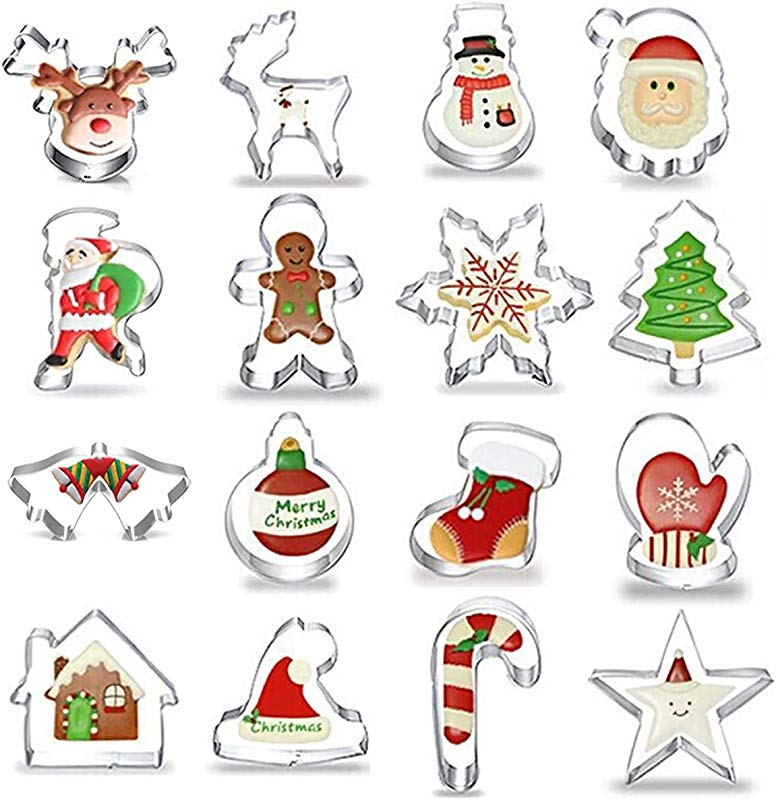 Gizhonme Christmas Cookie Cutter 16 Stainless Steel Xmas Holidays Cookies Molds For Making Muffins Biscuits Sandwiches Christmas Tree Christmas Hat Santa Claus Deer Bell Gloves Socks Ect